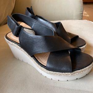Clarks Artisan Black Leather Wedge Sandal Size 8